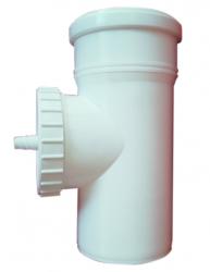 T-kus revízny horiz. s odvodom DN160 biely plast
