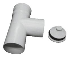 T-kus revízny uni DN80 biely plast