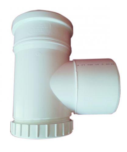 T-kus revízny vertikálny DN125 biely plast