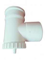 T-kus revízny vert. s odvodom DN100 biely plast