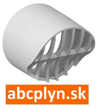 Hlavica výfuku-nasávania DN80 biely plast