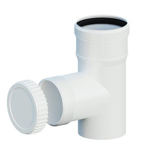 T-kus revízny DN200 biely plast